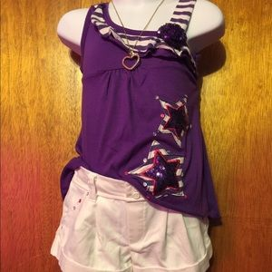 Purple and white striped RMLA short set in size 3T
